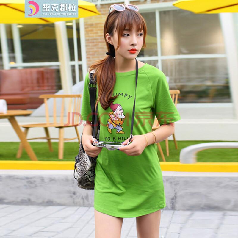 韩国东大门夏季新款2014韩国可爱小矮人中长款宽松显瘦短袖t恤 绿色 m