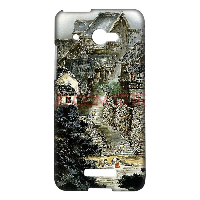 摩品 釉光彩绘手机壳 水墨画创意卡通个性时尚手机套 适用于htc x920d