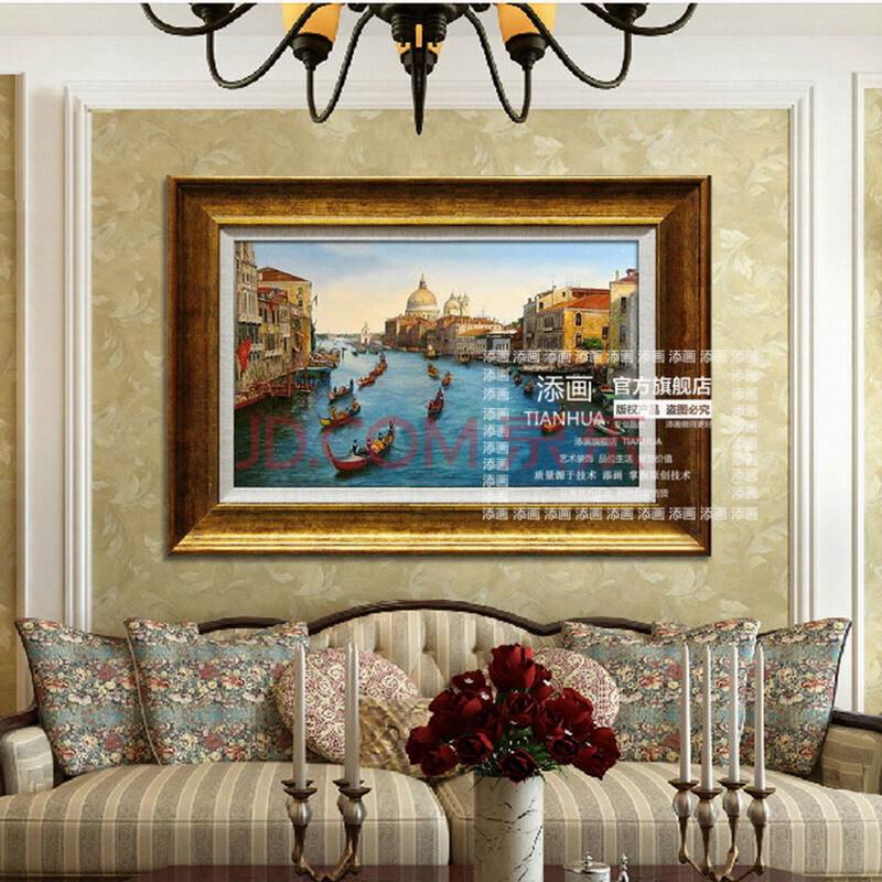 纯手绘欧式风景山水油画 美式实景装饰油画 大厅客厅玄关挂画壁画 a款
