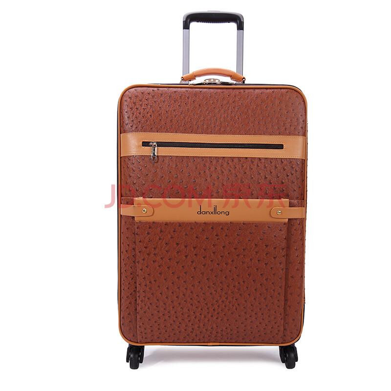 丹希龙高档皮箱 拉杆箱万向轮 复古行李箱pu 商务旅行箱包 24寸