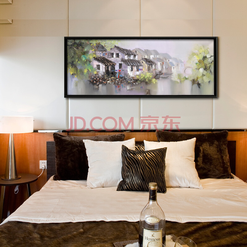江南水乡系列 纯手绘油画 中式山水风景客厅沙发背景卧室办公室酒店