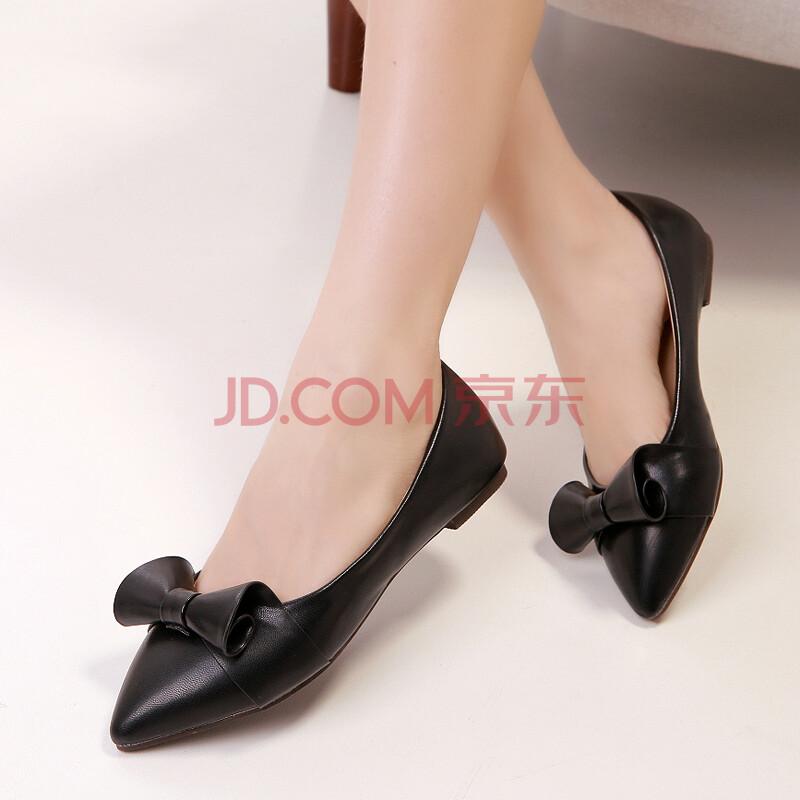 公主蓬特甜美舒适平底单鞋 百搭尖头蝴蝶结女鞋 黑色