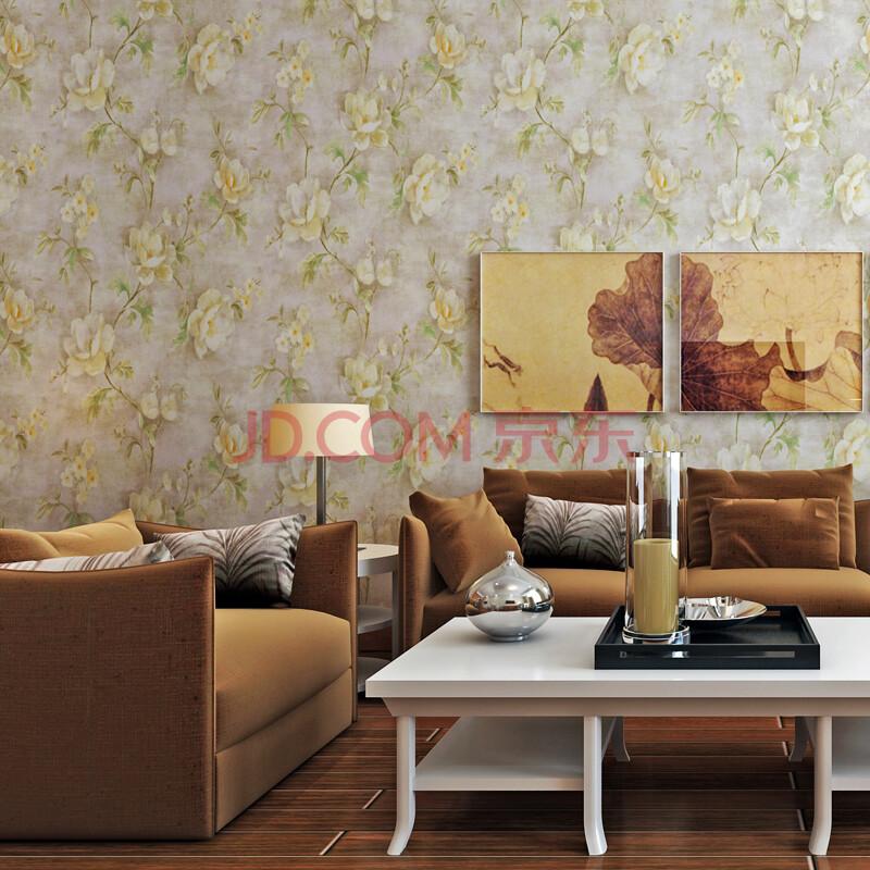 米冠 美式复古乡村田园大花纯纸墙纸 温馨卧室客厅沙发背景墙壁纸图片