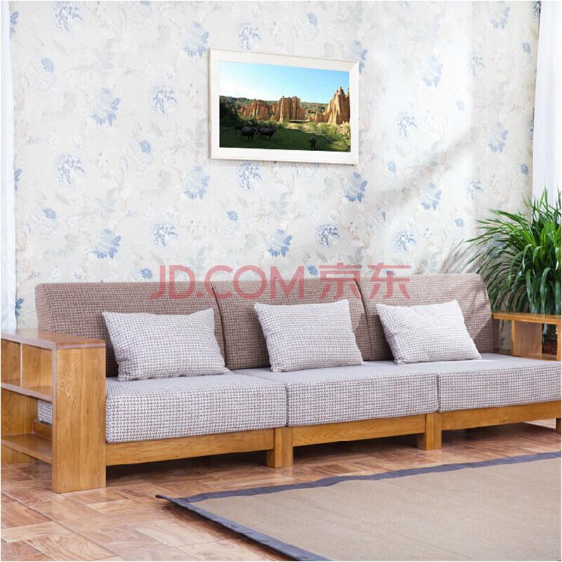 泽润沙发 实木转角沙发 贵妃榻 白橡木家具 仿古色 四人沙发