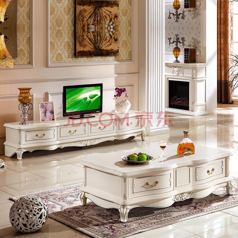 凯莉莎 欧式电视柜 茶几实木客厅矮柜地柜 法式简约电视机柜组合 欧式图片