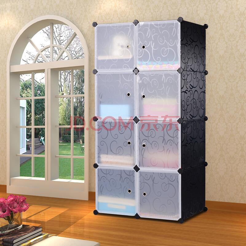 安尚芬衣柜 diy收纳树脂塑料组合简易衣柜加固大号简易衣橱 深大黑花8