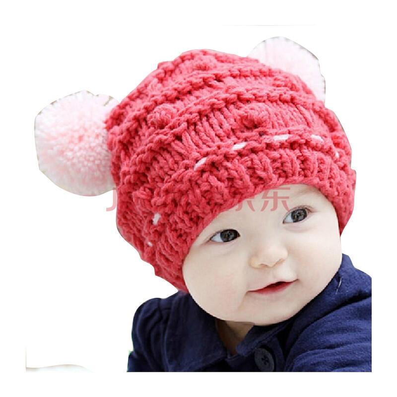 公主妈妈婴儿帽子麻花双球宝宝毛线帽女童秋冬款