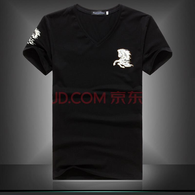 古莱登 2014夏季新款欧美风格 休闲修身飞马袖标男士v领短袖t恤 黑色