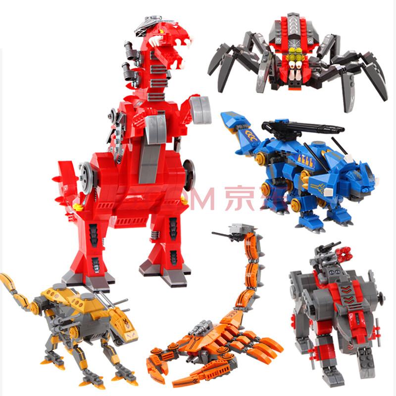 奥斯尼积大东甲玩具系列机甲角龙暴龙结局兽拼插小孩积木机械英雄木机京玩具箱模型图片