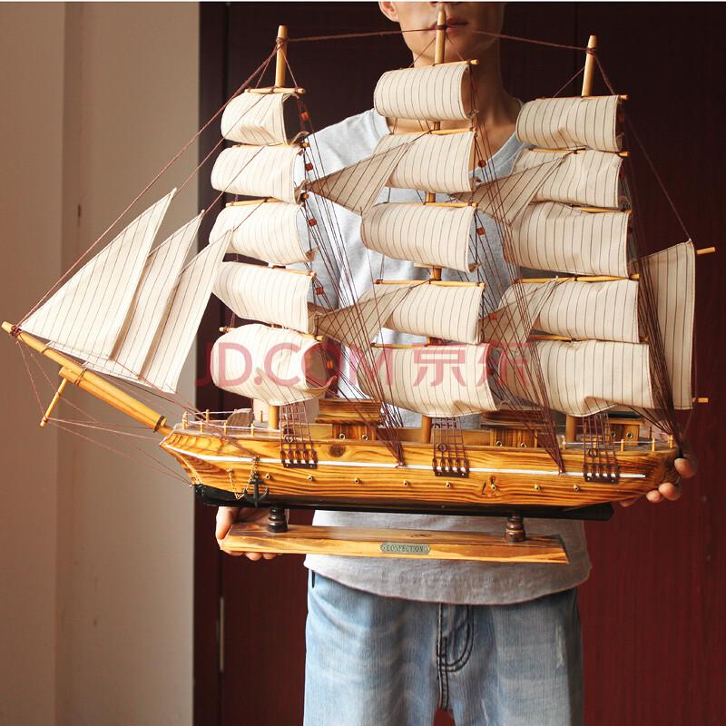 百易尚品手工木质工艺品船帆船船模一帆风顺乔迁送人