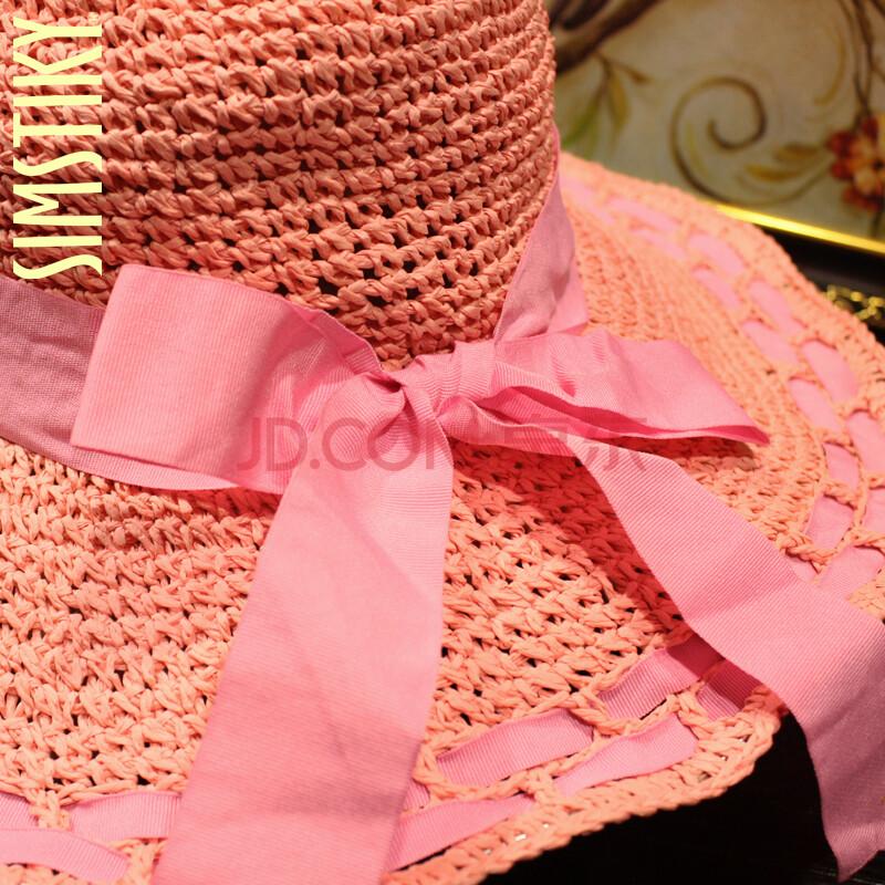 simstiky手工钩织草帽蝴蝶结 丝带卷边遮阳帽 防uv户外帽子 粉色