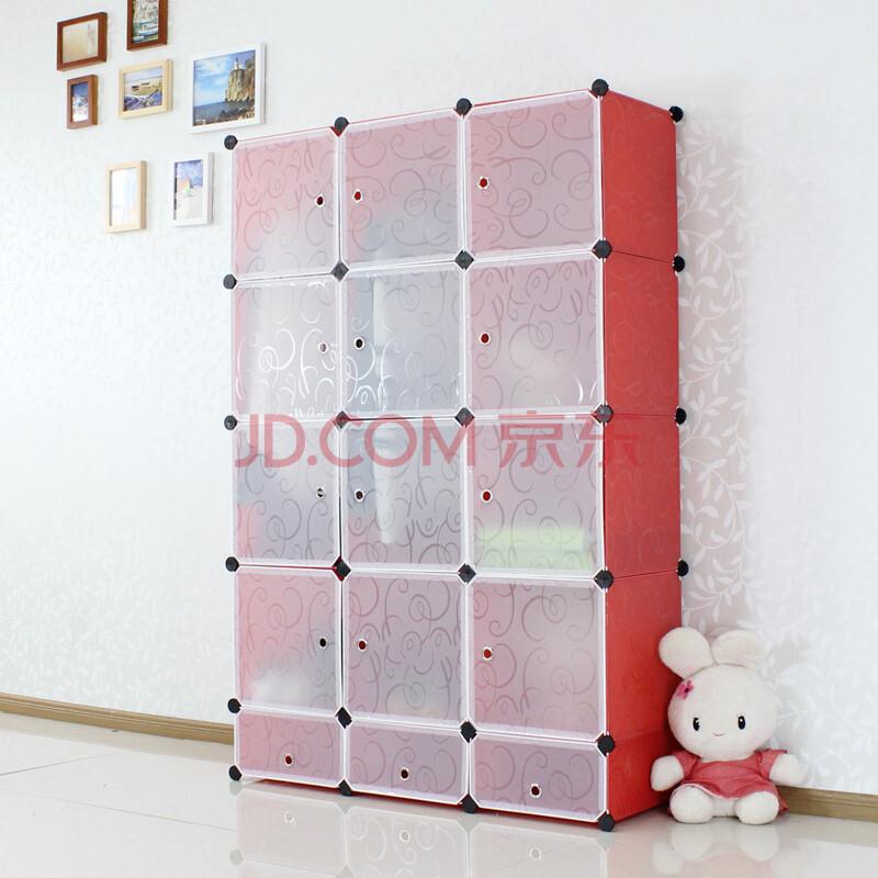 梦思园 组合简易衣柜 卧室收纳储物柜 衣橱 带鞋架 常规款红色印花