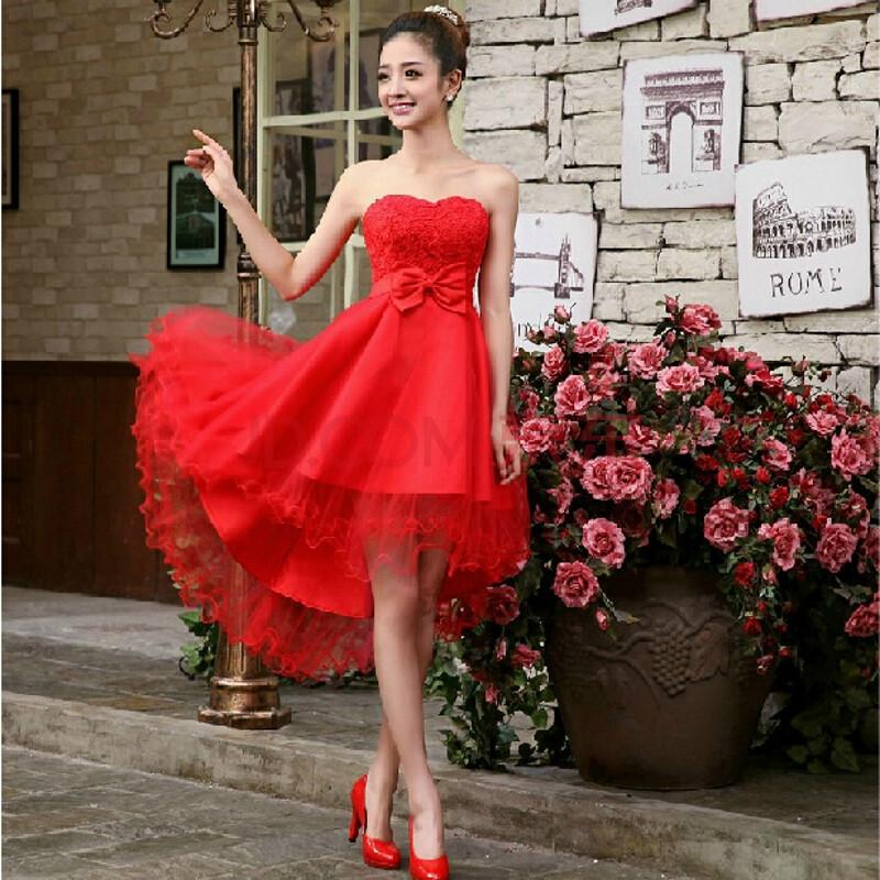 依上纱2014新款小礼服裙新娘伴娘服红色婚纱礼服结婚敬酒服晚礼服短款
