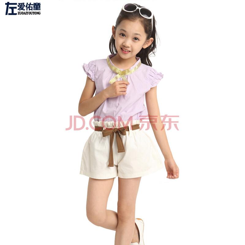 女童儿童夏季套装中大童套装衬衫短袖短裤两件套女