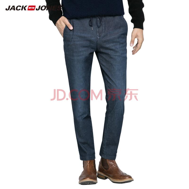 杰克琼斯JackJones牛仔裤含莱卡弹力男士修身抽绳锥腿牛仔裤E|215332065 160牛仔蓝 170/SRW