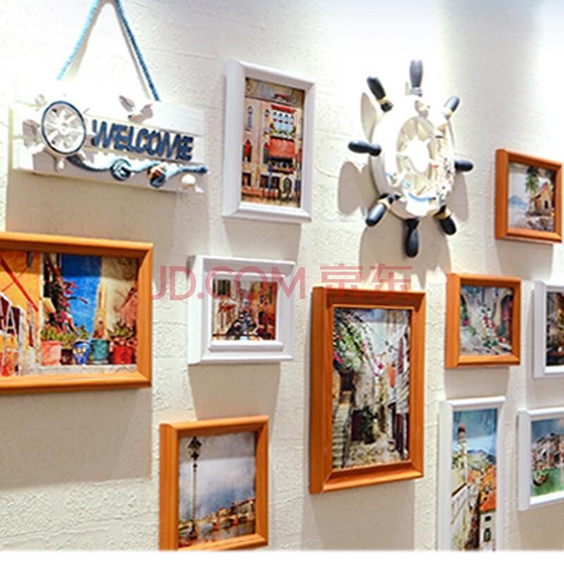 木质照片墙欧式客厅墙面相框挂墙创意地中海相片墙