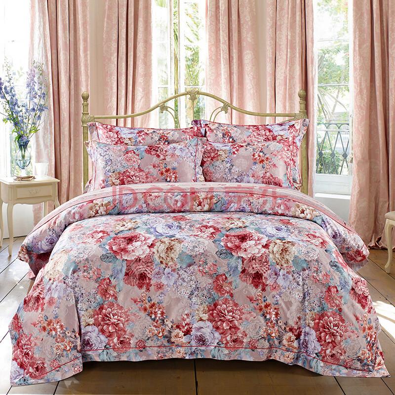 若枫家纺 欧饰美提花磨毛四件套 欧式被套被罩床单床品套件 黛汐魅香图片