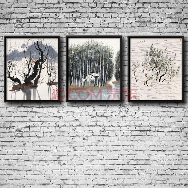 客厅拼套装饰画拼套画 印象斑斓 纯手绘 实木画框 50x60cmx3幅