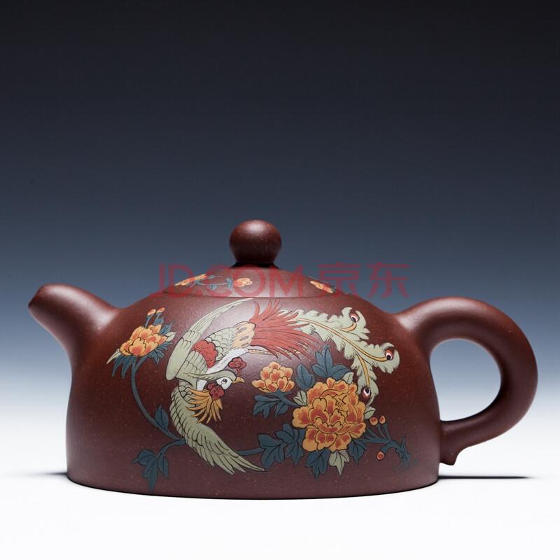 华盛和茶壶紫砂壶 宜兴 全手工原矿泡茶壶 杨巧琴制 半圆壶泥绘 320cc
