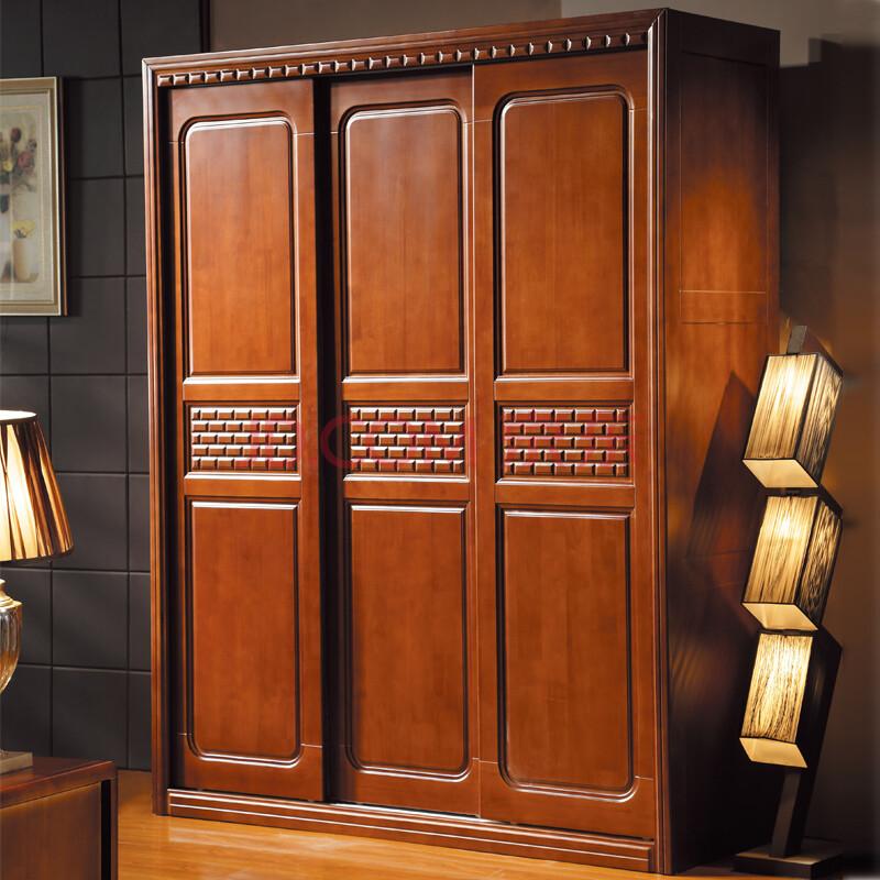 卡瑞亚家具 推拉门衣柜 实木衣柜 中式橡木移门衣橱 605# 实木推拉门