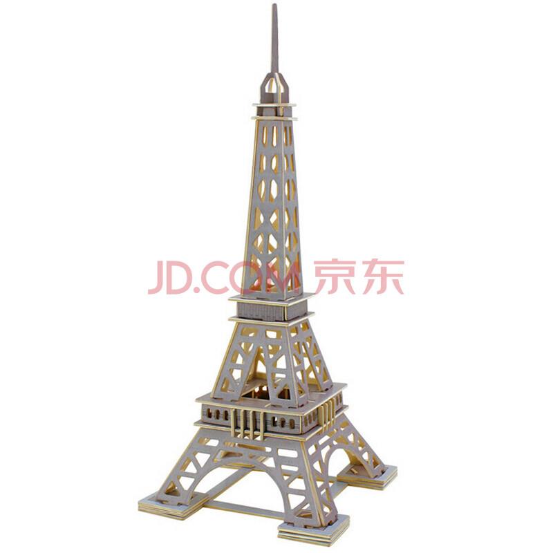 拼插 木质模型 中国著名建筑岳阳楼益智玩具 埃菲尔铁塔