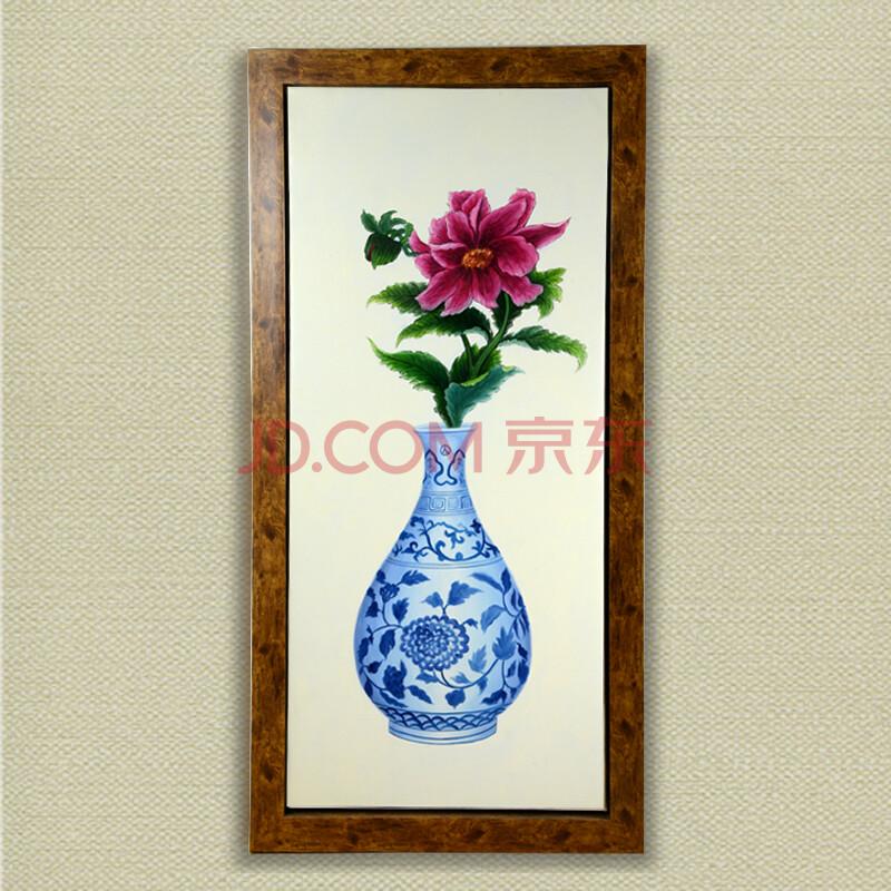 风彩 青花瓷花卉系列手绘油画带框挂画 餐厅卧室走道酒店装饰带框壁画