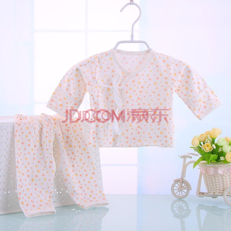 婴儿新生儿全棉宝宝和服和尚服系带内衣套装开档裤 橘色 52cm