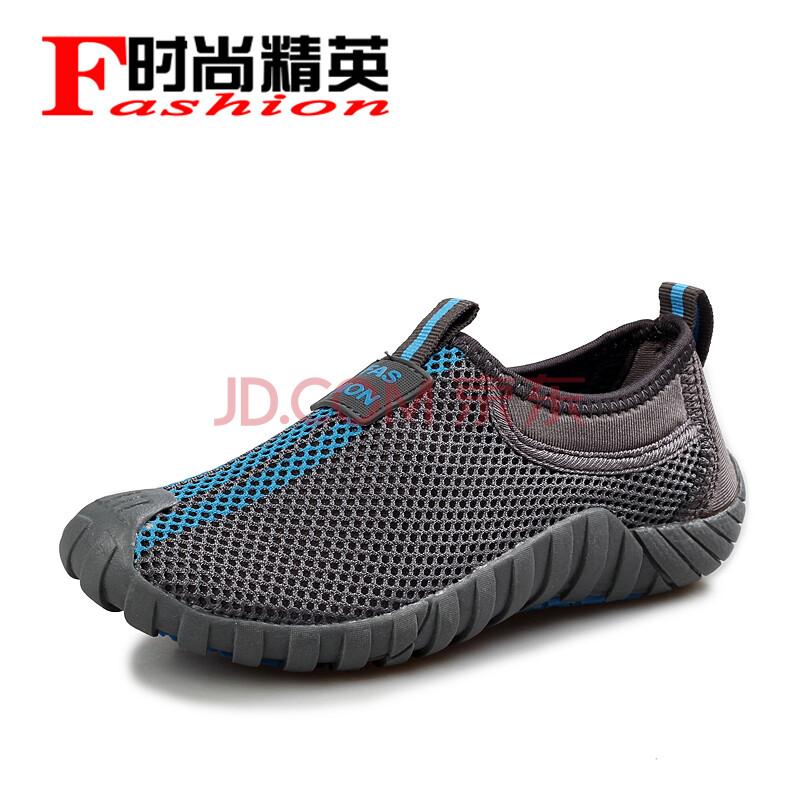 时尚精英新款透气休闲鞋男鞋英伦潮流网布鞋一脚登鞋