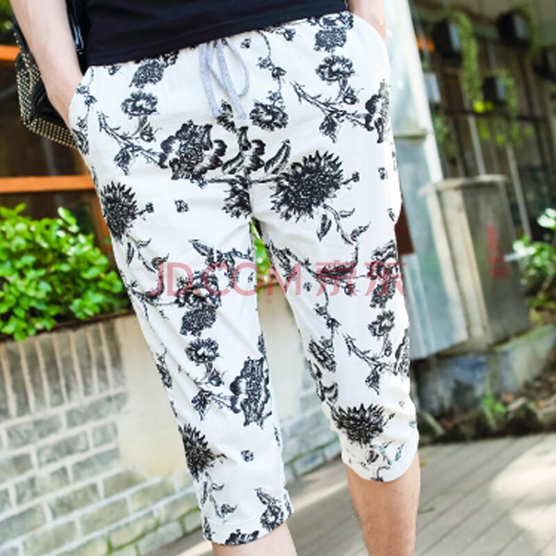 格蓝凯 2014夏季新款 发型师时尚花裤子韩版潮男休闲短裤黑白花七分裤