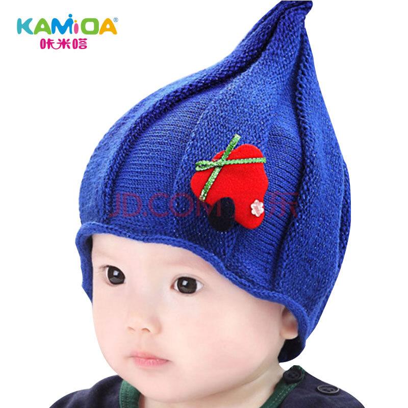 咔米嗒kamida 婴儿帽子秋冬季男2-3岁女宝宝儿童护耳毛线帽 小精灵