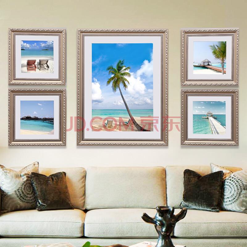 现代简约沙发背景墙五联组合画餐厅卧室挂画有框画欧式壁画 海景现代图片