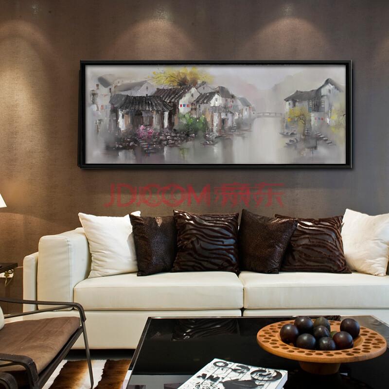 江南水乡 纯手绘油画 新中式山水风景客厅沙发背景卧室办公室酒店书房