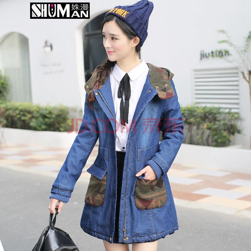 新款冬季韩版连帽加厚牛仔棉衣女中长款修身棉服少女外套中学生冬衣图片
