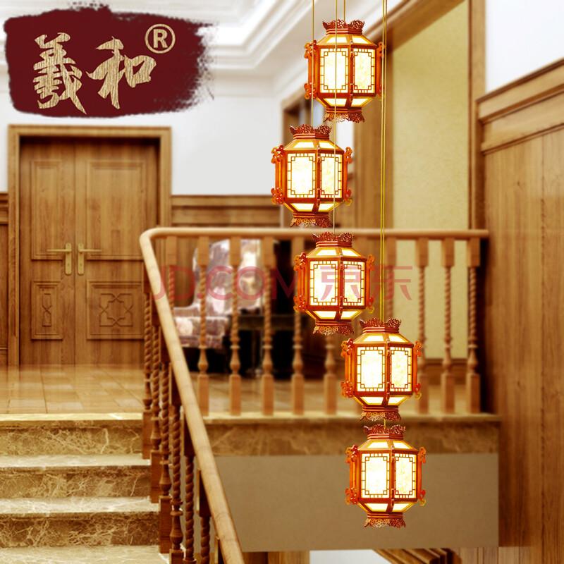 羲和新中式楼梯吊灯 复式客厅楼梯灯复古led木质灯具图片