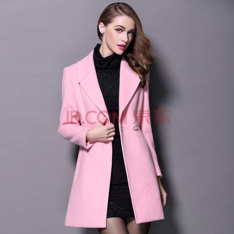 依斯丹洛2015秋冬新款羊毛呢大衣女中长款修身呢子大衣 粉红色 s