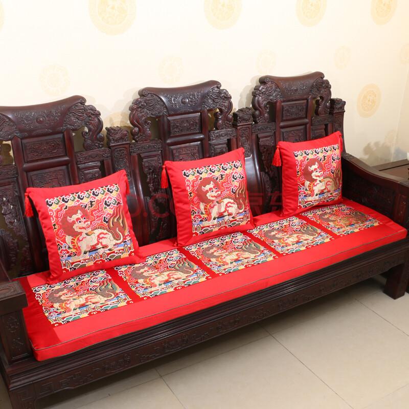 艺必旭定做中式红木沙发垫坐垫实木沙发垫子抱枕靠垫坐垫婚庆家具 红图片