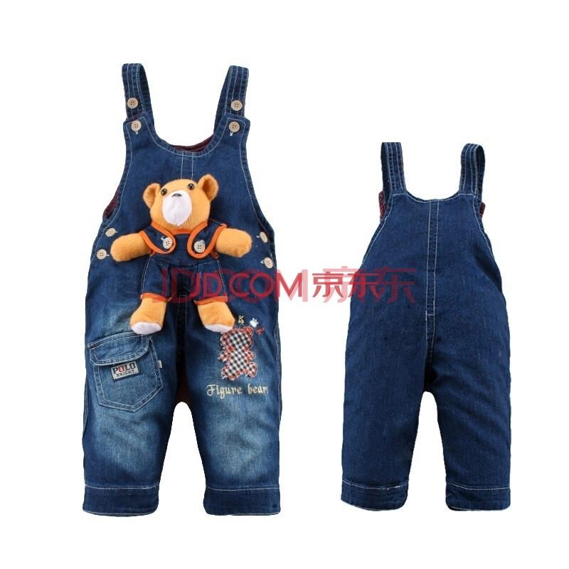 宝宝牛仔背带裤 婴儿幼儿童装男童女童1001 蓝色 90