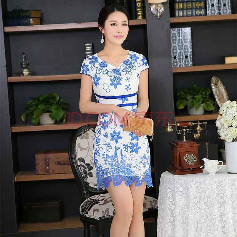 2014夏装新款旗袍 女 时尚修身改良民族风复古连衣裙 青花瓷短款旗袍裙B77052
