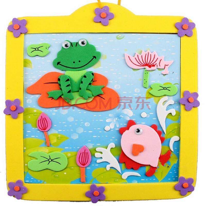 手工贴画幼儿园材料贴画幼儿园手工缝制立体贴画益智玩具 荷塘青蛙