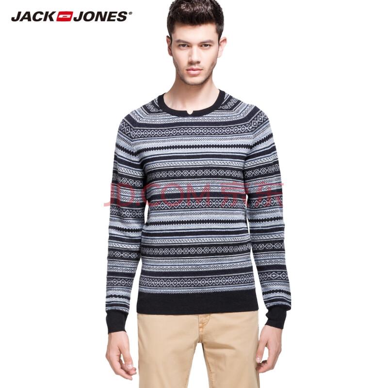 杰克琼斯jackjones羊毛混纺男士雪花粗织修身针织衫o