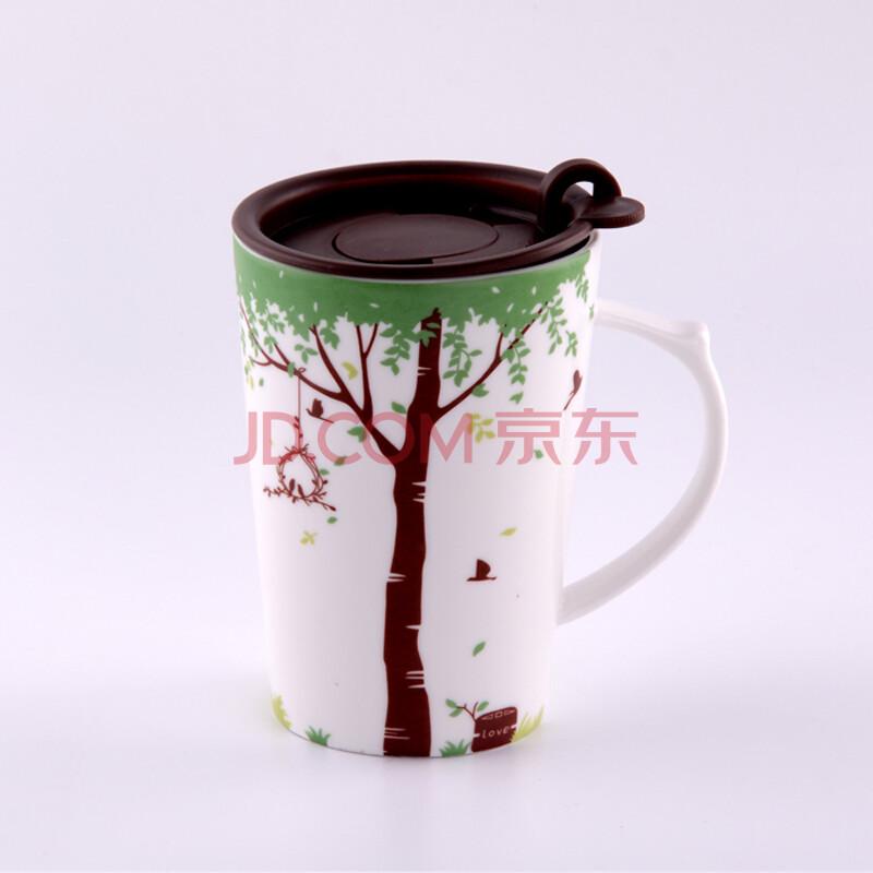 美易达星巴克可爱创意个性陶瓷水杯子 麋鹿马克杯带盖