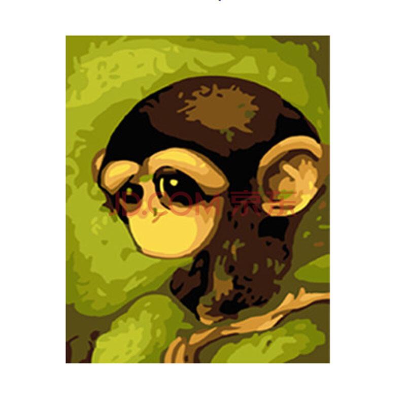 正品高档数字油画diy手绘 萌宠系列装饰画 手工画 e-114小猴子 50*65