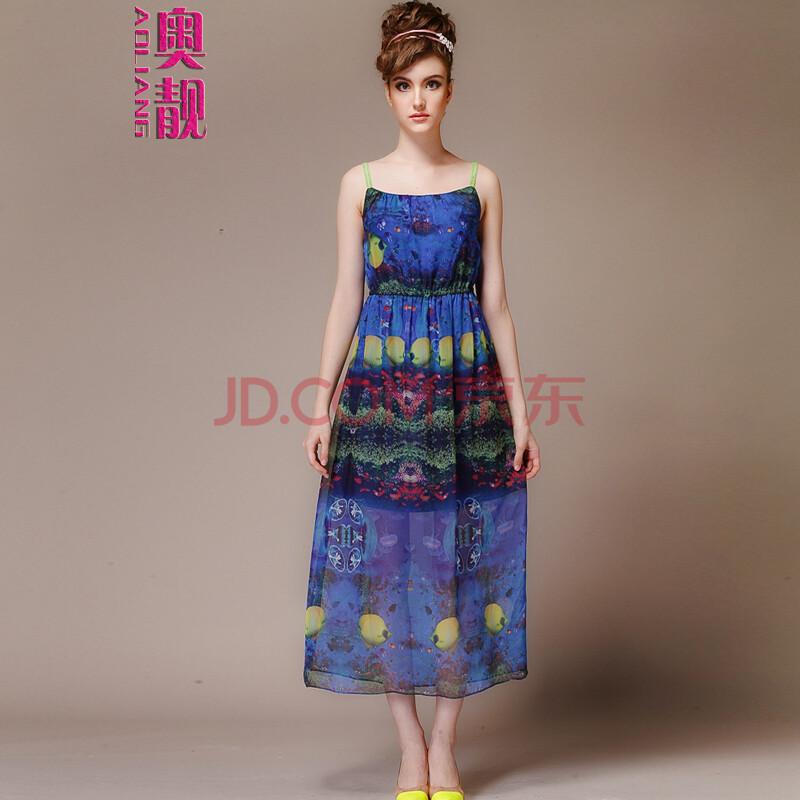 奥靓2014夏季新款韩版欧美波西米亚雪纺长裙子沙滩裙连衣裙 l731 图片