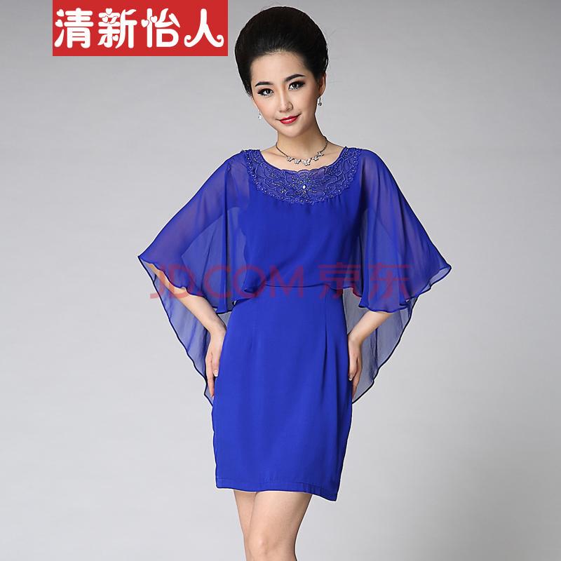 清新怡人2014夏季新款假两件纯色显瘦丝绸桑蚕丝裙子大码大牌真丝