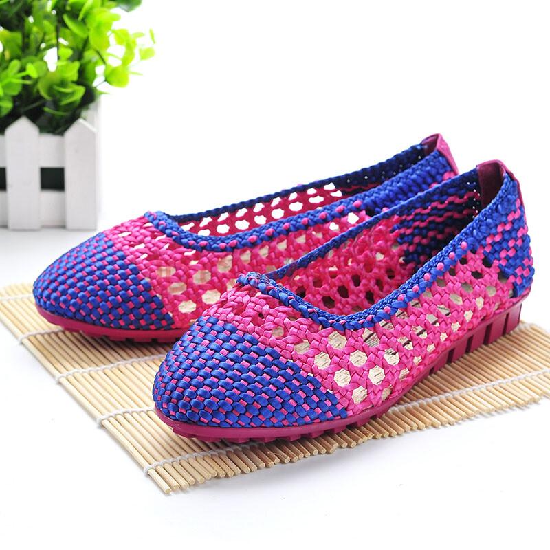 佳福老北京布鞋 夏季新品女凉鞋 手工编织镂空透气软底女凉鞋 休舒适
