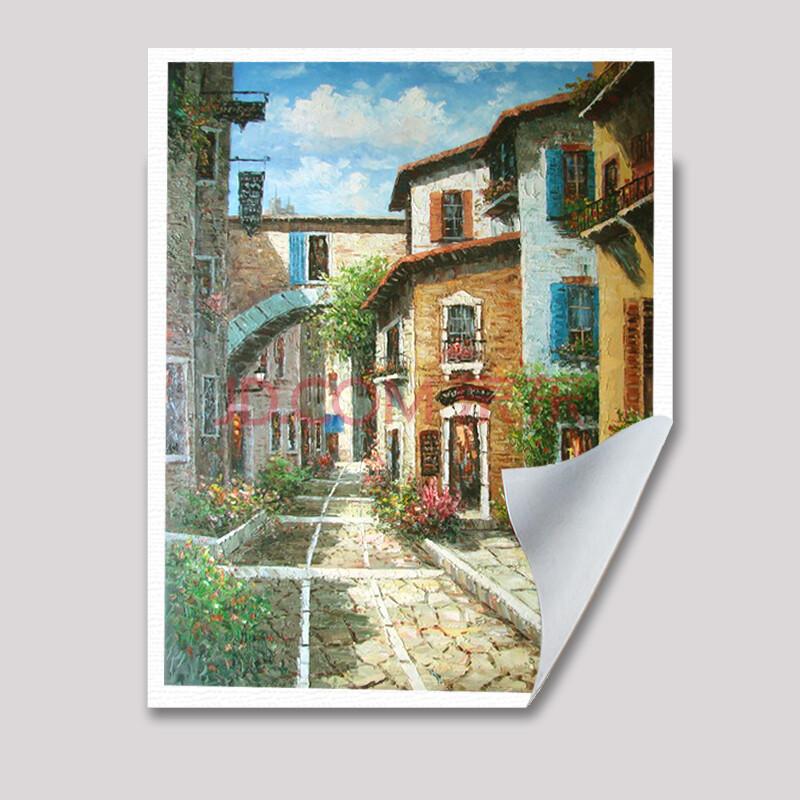 山迪 手绘油画客厅装饰画餐厅挂画墙画壁画欧式巴黎风景 庭院 画心120