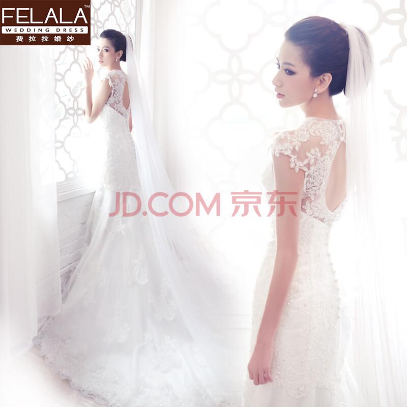 费拉拉 婚纱 婚纱头纱 韩式婚纱礼服头纱 4米拖地长款