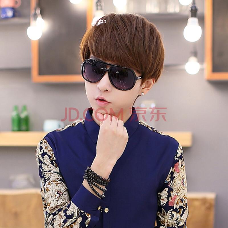 春款男装衬衫男长袖修身款撞色暗花纹衬衣时尚潮男发型师打底寸衫韩版