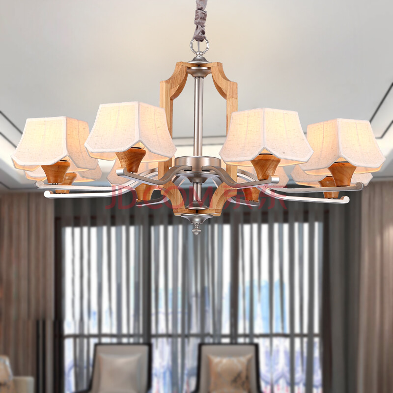 新中式吊灯具古典欧式木灯客厅大气主卧室灯布餐厅铺