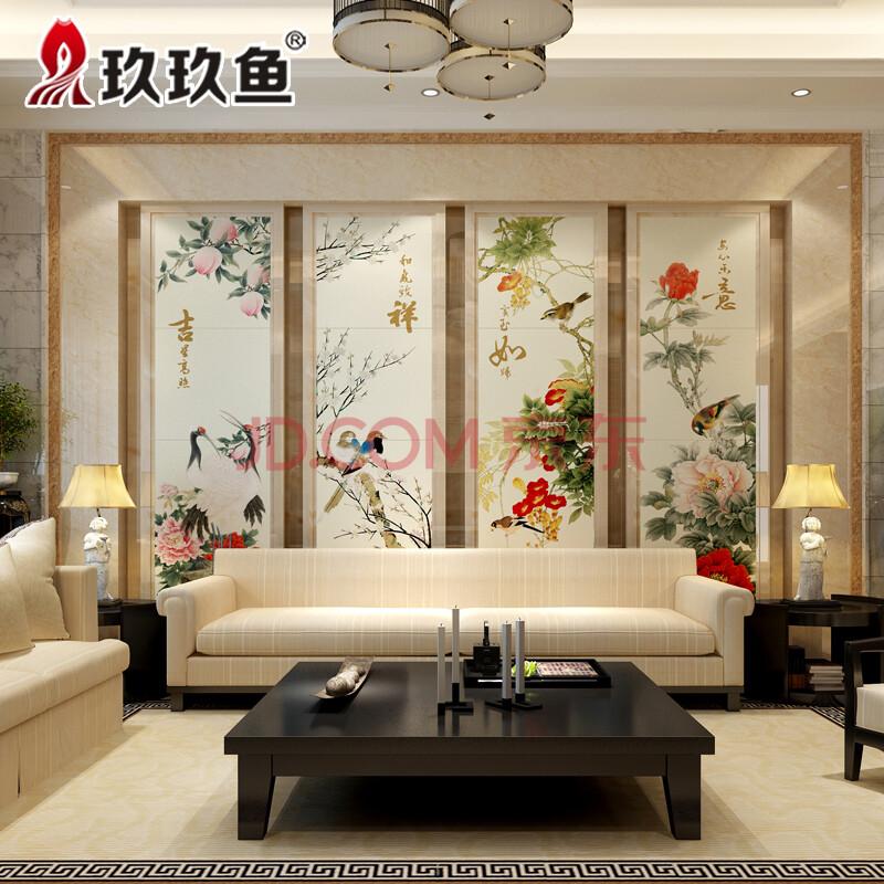 玖玖鱼 电视背景墙瓷砖雕刻影视墙现代中式瓷砖壁画 客厅沙发墙砖图片